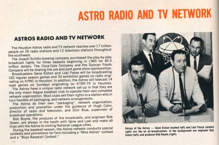 Voices of the Astros - Gene Elston (seated left) and Loel Passe (seated right) are the on-air broadcasters. In the background are engineer Bob Green (left) and producer Bob Boyne (right).