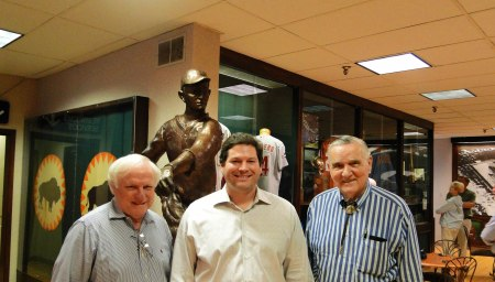 Dickie Kerr Statue over the shoulders of Tom Kennedy, Curator & Historian; Rodney Finger; and former Houston Buff Larry Miggins.