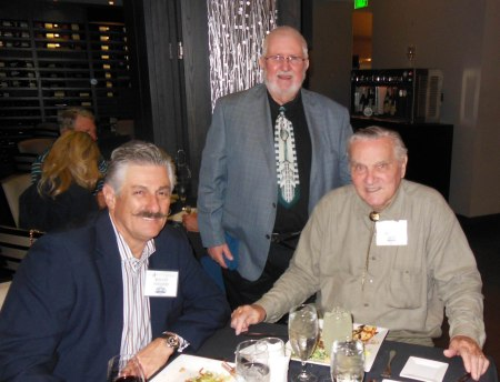 Rollie Fingers, Bill McCurdy, and Larry Miggins dining at the Masraff's MLBPAA event in Houston on April 21, 2013. - Photo by Jim Foor