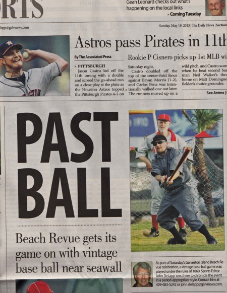 "PAST BALL is PLAY BALL. The Astros got a higher placement but our vintage game got the larger headline. That's Vince ""The Viper"" Columbo of the Combine connecting as Babies catcher Robby Martin looks on with great interest and anticipation."