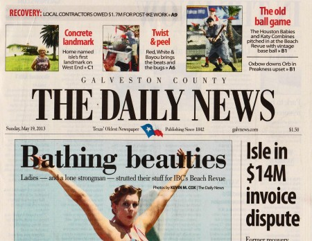 The Daily News gave front page note to the first page Sports Section story on the vintage game in the upper right hand corner. Robbie Martin of the red-vested Babies and Vince Columbo of the ghostly gray Combine are the poster boys for a new story that gets precedence over results from The Preakness on this same date.