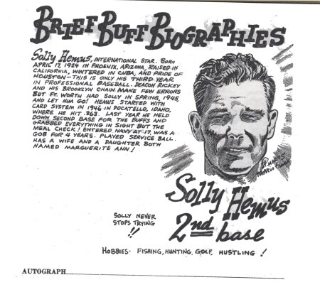 """Excerpt from """"Your 1948 Houston Buffs, Dixie Champions: Brief Biographies By Morris Frank and Adie Marks (1948)."""