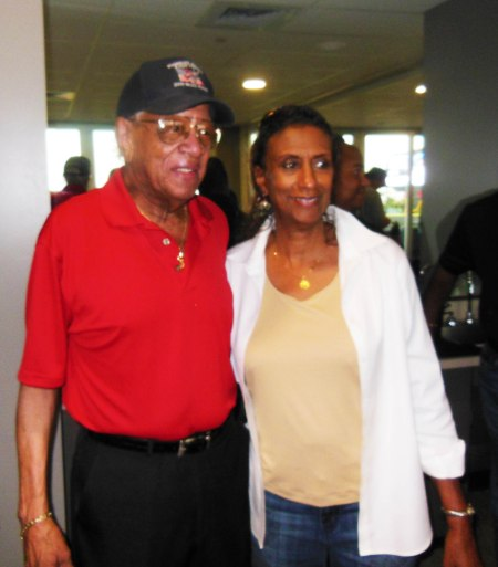 "One of the ""Red Tails"", that famed African-American group of fighter pilots from WWII was present too. Here we see him pictured with Marie Wynn. Now all we need is his name to give him the full credit he deserves."