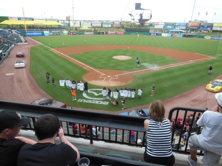 The home plate arrival scene at Constellation Field.