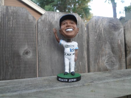 The first 2,000 fans also got this handsome, welcoming bobble head of Deacon Jones to take home with them.