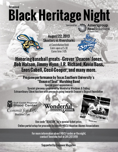 BLACK HERITAGE NIGHT ~ Rolling In on a TSU Ocean of Soul this Coming Thursday Night, Aug. 22nd, at Constellation Field in Sugar Land. ~ DON'T MISS IT!!!