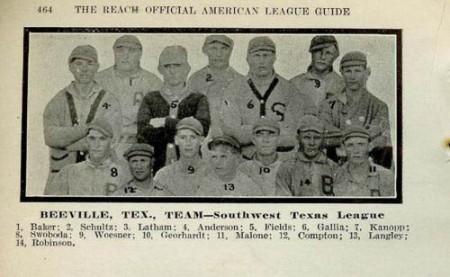 The 1910 Beeville Orange Growers Southwest Texas League 1910-11