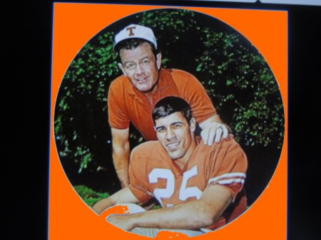 UT Star Running Back Chris Gilbet and Coach Darrell Royal, 1968.