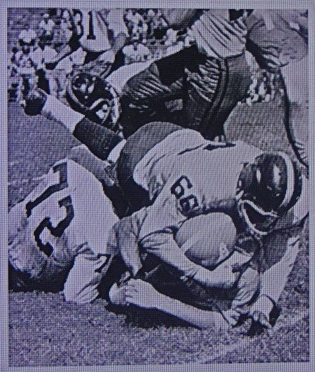 Oct. 9, 1960: #66 Howard Glenn makes the tackle on an Oiler RB. Within 3 hours, Glenn will be dead from game injuries or heat stroke.