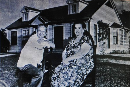 Dickie and Cora Ker in front of their Houston gift home from Stan Musial. Musial was upset when attempted quiet gift to old friends became public a few short years after the fact.