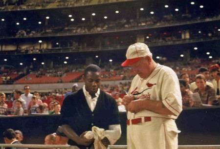 August 20, 1966: Astros star Jimmy Wynn gets an autograph from Dizzy Dean prior to the Old-Timers game.