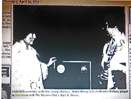 FORMER secretary to the late George Kirksey, Melba Wilson, (left) looks over Kirksey plaque in the Astrodome with The Baytown Sun's Mary H. Brown.