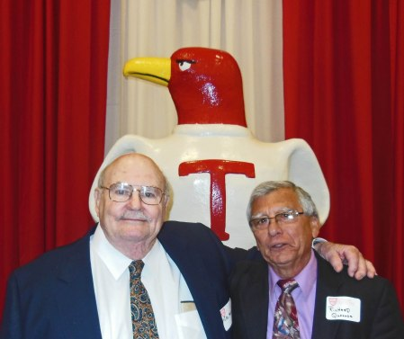 MIKE MULVIHILL (L) AND RICHARD QUESADA, THE DYNAMIC DUO IN BASEBALL AND FOOTBALL FOR THE STHS CLASS OF 1956 ARE NOW BOTH INDUCTED MEMBERS OF THE ST. THOMAS HIGH SCHOOL (HOUSTON) SPORTS HALL OF FAME, AS THEY ALWAYS SHOULD HAVE BEEN.