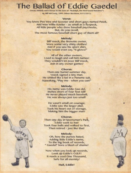 The Ballad of Eddie Gaedel August 19, 2011 Program Format