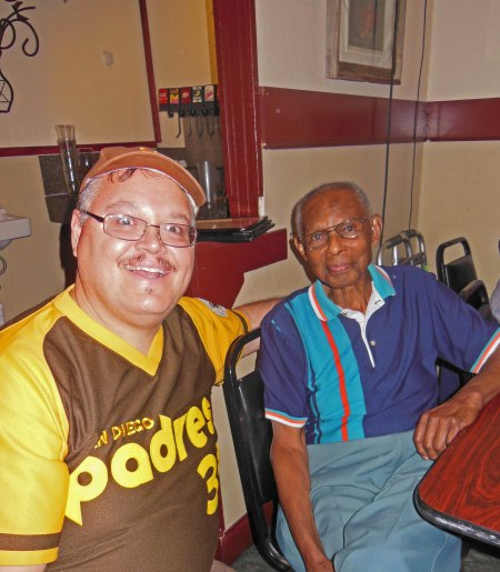 Matt Rejamaniak of SABR greets 91-year Raymon Lacy to the latter's speaking engagement at SABR on 7/14/2014.