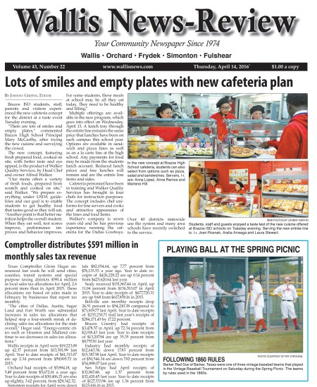 Wallis News-Review Front Page, April 12, 2016 Barker Red Sox Roar!