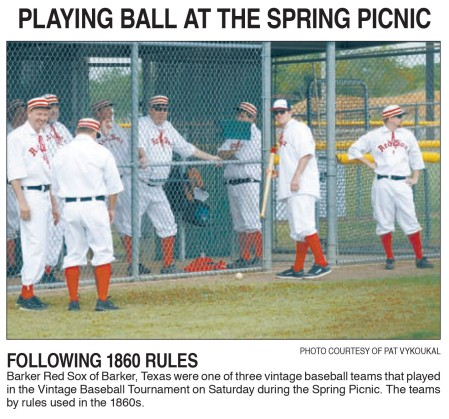The Barker Red Sox get ready for their first game in Sealy. - The tall smiling slender fellow on the far left is manager Bob Copus.