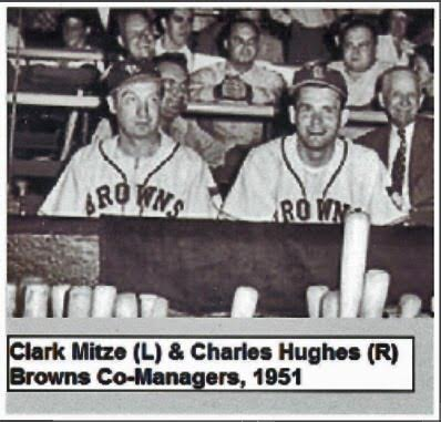 Mitze and Hughes were the fans chosen to coach the base runners by Bill Veeck, nut they were banned at game time by AL President WIll Harridge because Veeck had not sought his permission to use them on the field.  ~ Photo from the St. Louis Post-Dsipatch contributed by Bill Hickman of SABR. ,