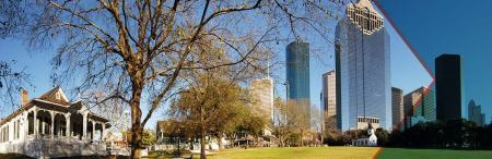 The View from Sam Houston Park To Downtown Houston