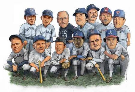 "The all-time Crossroads baseball team, front row, from left: Curt Walker, Ross Youngs, Jim Busby, Ron Gant, Rocky Bridges and Mike Macha; back row, from left: Oscar ""Ox"" Eckhardt, Marv Gudat, coach Wayne Graham, Dale Murray, Doug Drabek, Eddie Taubensee and Nolan Ryan."