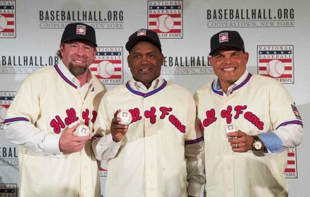 Hall of Fame Class of 2017 Jeff Bagwell, Tim Raines, and Ivan Rodriguez.