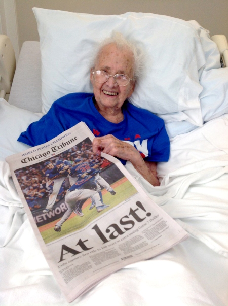 Mabel Ball will always be the only Cbs fan to have seen her club win two World Series during her 108 years and two month life span.