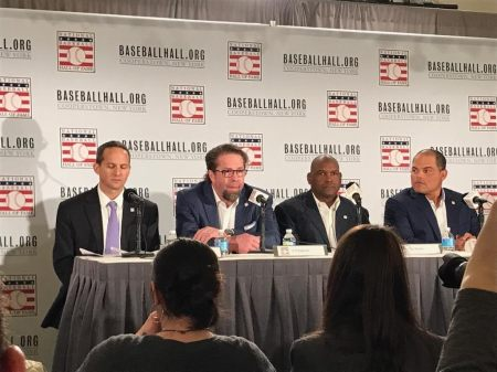 The Hall of Fame Class of 2017 NY Media Day, 1/19/2017 HOF President Feff Idelson, Jegg Bagwell, Tim Raines, & Ivan Rodriguez Photo by Dr. Kevin Gee
